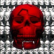 Red skull in the midst infinite white skulls. background 3d animation render visuals vj loops Layer