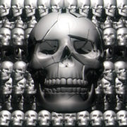 Seamless animation of skulls in black and white. visuals vj loops Layer
