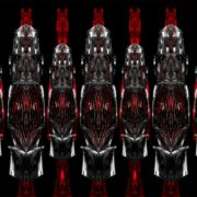 Several-columns-metamorphosing--shape-on-black-background-Wallpaper
