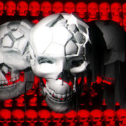 Skull trio in front of many red skulls background visuals vj loops Layer