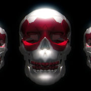 Trio halloween Animation black skull on black background visuals_vj_loops_Layer