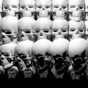 halloween Looping pan over a line of shiny, warmly colored skulls. visuals_vj_loops_Layer
