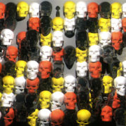 halloween Looping pan over a line of warmly colored skulls.visuals_vj_loops_Layer