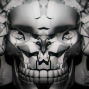 halloween Scary silver demon skull with a torn face. Looped visuals_vj_loops_Layer