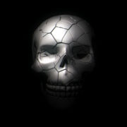 halloween skull on a black background. 4k, dolly shot, defocusing, blur visuals vj loops Layer