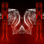 metamorphose of amorphous shape amidst four red pillars Wallpaper