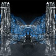 metamorphose of amorphous shape amidst two silver pillars Wallpaper