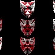 Polygonal-red-evil-robotic-mask-face-motion-lines-vj-loop-HD VJ Loops Farm