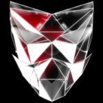 vj video background Polygonal-red-evil-robotic-mask-face-motion-lines-vj-loop-HD_003