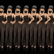 Beauty-Blonde-Girl-Team-in-Covid-19-black-mask-dancing-on-black-background-4K-Video-VJ-Footage-1920_002 VJ Loops Farm
