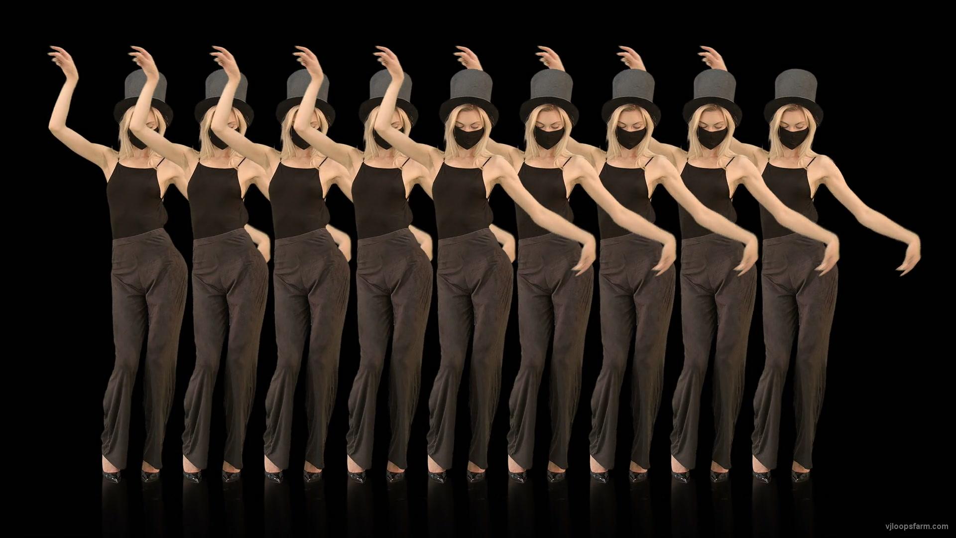 vj video background Beauty-Blonde-Girl-Team-in-Covid-19-black-mask-dancing-on-black-background-4K-Video-VJ-Footage-1920_003