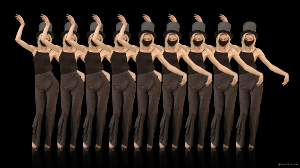 vj video background Beauty-Blonde-Girl-in-Covid-19-black-mask-dancing-on-alpha-channel-4K-Video-Footage-PACHKA-2_003