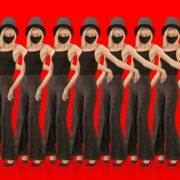 Beauty-Blonde-Girl-in-Covid-19-black-mask-dancing-on-red-background-4K-Video-Footage-1920_001 VJ Loops Farm