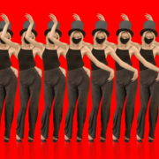 vj video background Beauty-Blonde-Girl-in-Covid-19-black-mask-dancing-on-red-background-4K-Video-Footage-1920_003