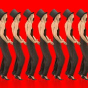 Beauty-Blonde-Girl-in-Covid-19-black-mask-dancing-on-red-background-4K-Video-Footage-1920_004 VJ Loops Farm