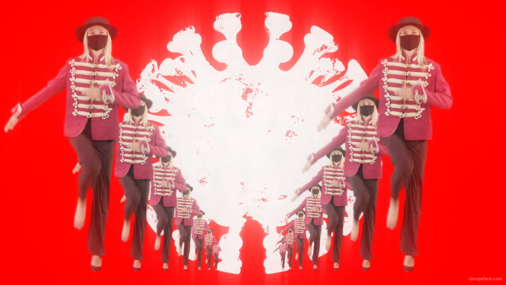 vj video background Corona-Virus-3D-Girls-In-Mask-Empire-royal-woman-marching-Video-Art-4K-VJ-Footage-Looped-1920_003