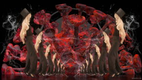 Corona-Virus-Girl-Dancing-on-Covid19-Cell-with-strobing-red-white-effect-video-art-4K-VJ-Footage-1920_004 VJ Loops Farm