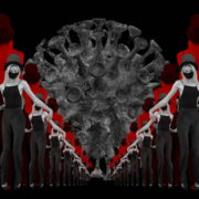 vj video background Covid19-Girl-in-mask-dancing-with-Virus-on-strobing-red-white-background-4K-Video-Art-VJ-Looped-Clip-1920_003
