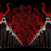 Covid19-Girl-in-mask-dancing-with-Virus-on-strobing-red-white-background-4K-Video-Art-VJ-Looped-Clip-1920_006 VJ Loops Farm