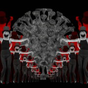 Covid19-Girl-in-mask-dancing-with-Virus-on-strobing-red-white-background-4K-Video-Art-VJ-Looped-Clip-1920_007 VJ Loops Farm