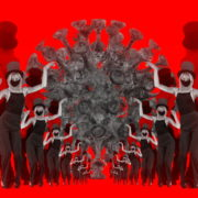Covid19-Girl-in-mask-dancing-with-Virus-on-strobing-red-white-background-4K-Video-Art-VJ-Looped-Clip-1920_008 VJ Loops Farm