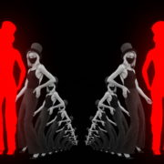 vj video background Dancing-Covid19-Girls-in-COrona-VIrus-Mask-in-Red-White-pixel-sorting-effect-4K-Video-Art-VJ-Loop-1920_003
