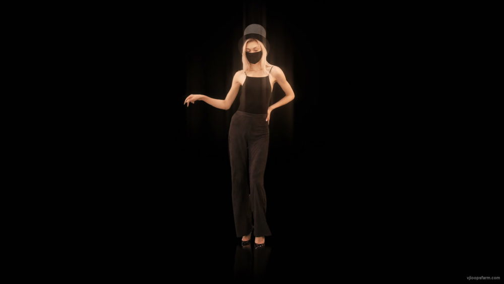 vj video background Softly-Girl-in-Covid-19-black-mask-dancing-isolated-on-black-background-4K-Video-Art-VJ-Footage-looped-1920_003