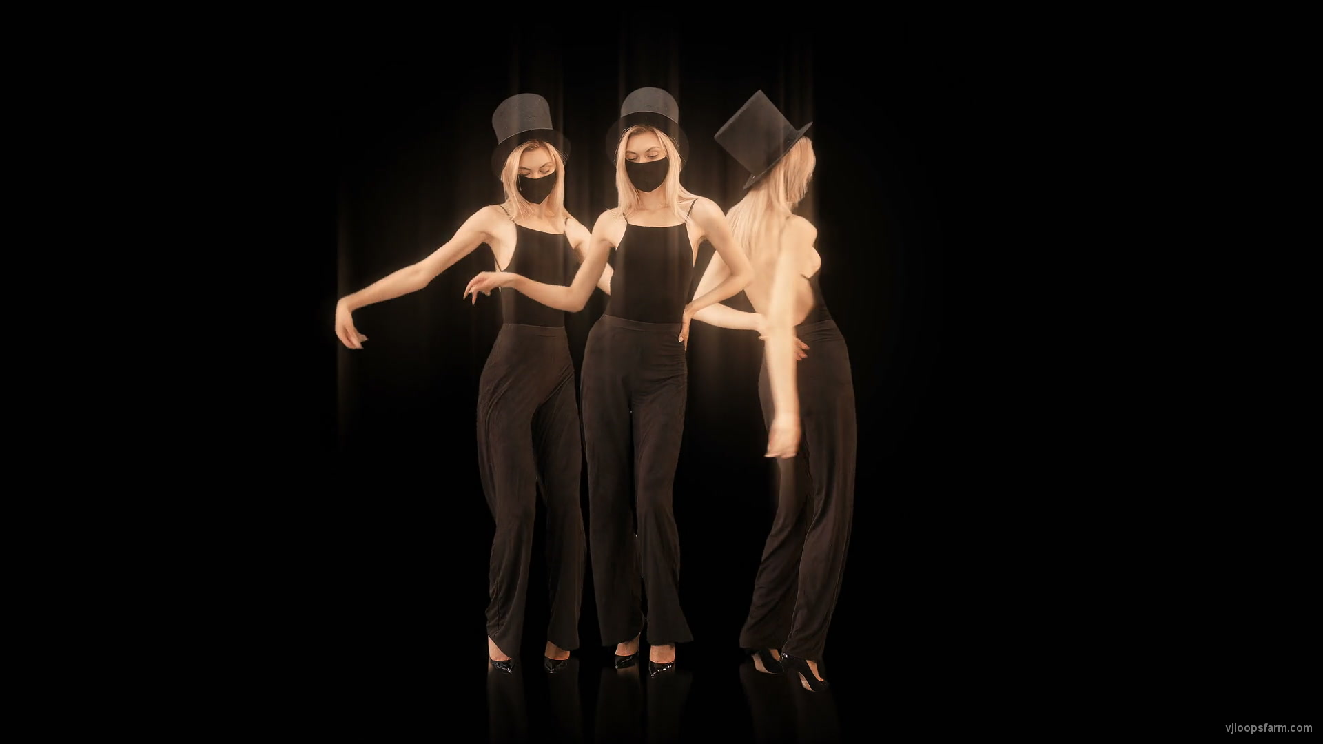 vj video background Softly-Three-Girls-in-Covid-19-black-mask-dancing-isolated-on-black-background-4K-Video-Art-VJ-Footage-looped-1920_003