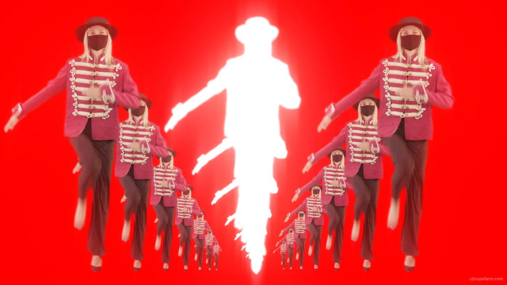 vj video background Tunnel-Three-Red-Girls-In-Mask-Empire-royal-woman-marching-Video-Art-4K-VJ-Footage-Looped-1920_003
