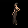 girl in mask isolated on black motion background