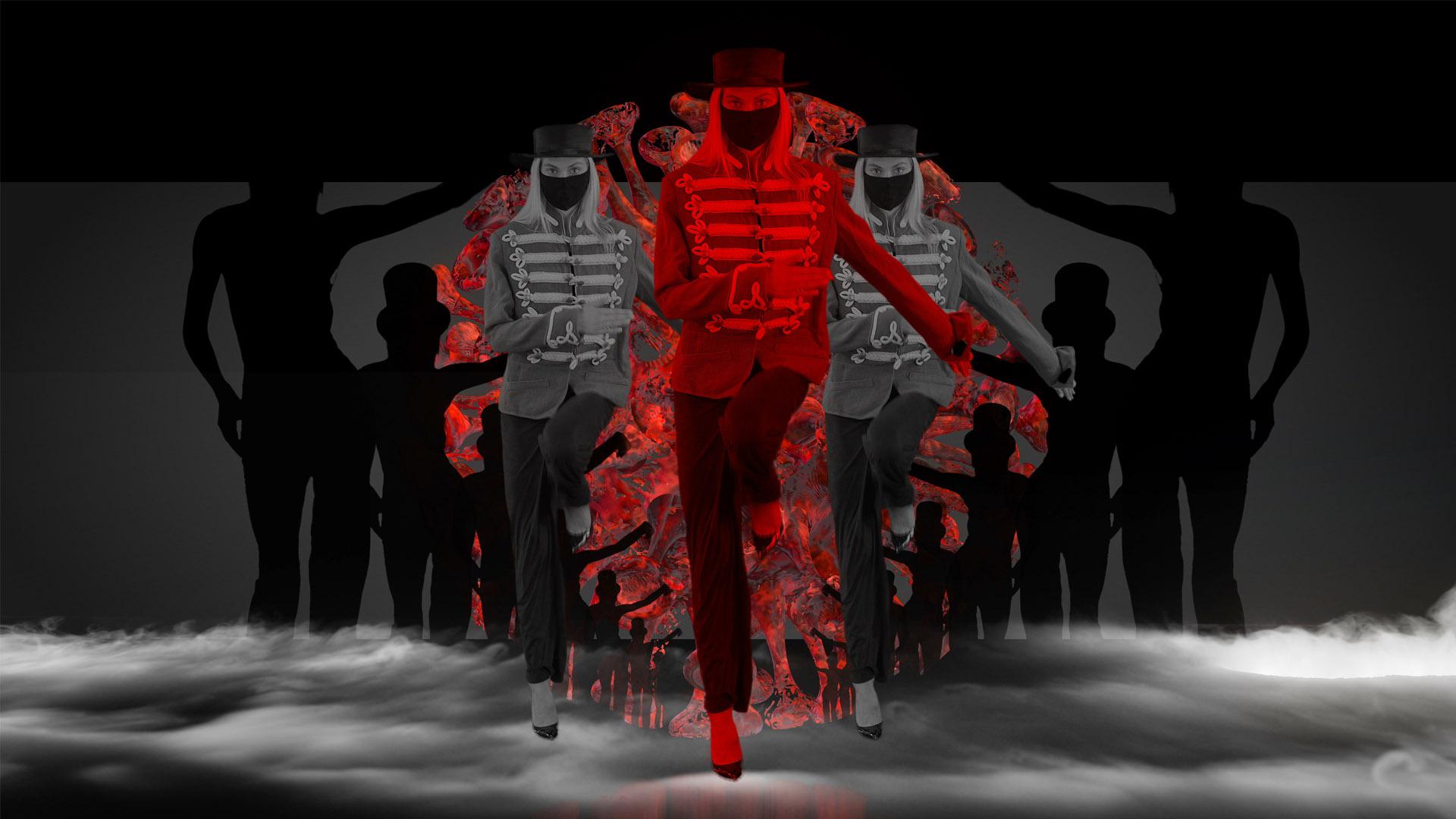 Covid-19-Dancing-Marching-Giri-in-mask-corona-virus-4k-video-footage-vjloop