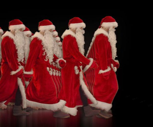 vj video background Army-of-Santa-Claus-walking-isolated-on-black-background-Video-Art-4K-Vjing-Footage-1920_003