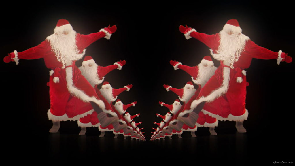 vj video background Happy-santa-claus-dancing-tunnel-through-black-background-VJing-Video-Art-Footage-1920_003