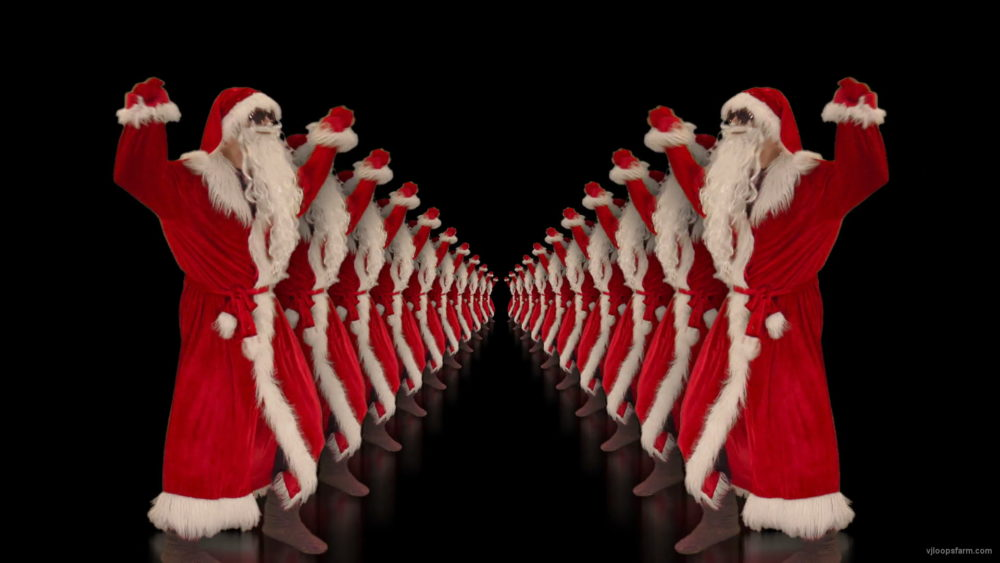 vj video background Tunnel-of-Dancing-Santa-Clauses-isolated-on-black-background-4K-Video-Art-VJ-Footage-1920_003