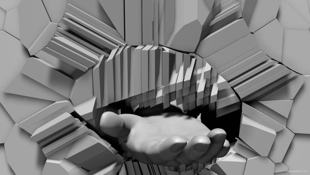3D-Hand-with-begging-gesture-on-fragmented-wall-projection-mapping-loop-ysxslu-1920_008 VJ Loops Farm