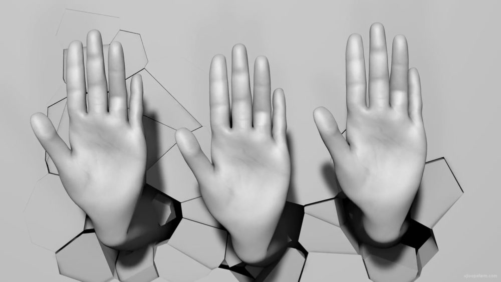 vj video background High-five-hand-signs-on-fragmented-wall-beats-3D-mapping-loop-kbvu1p-1920_003