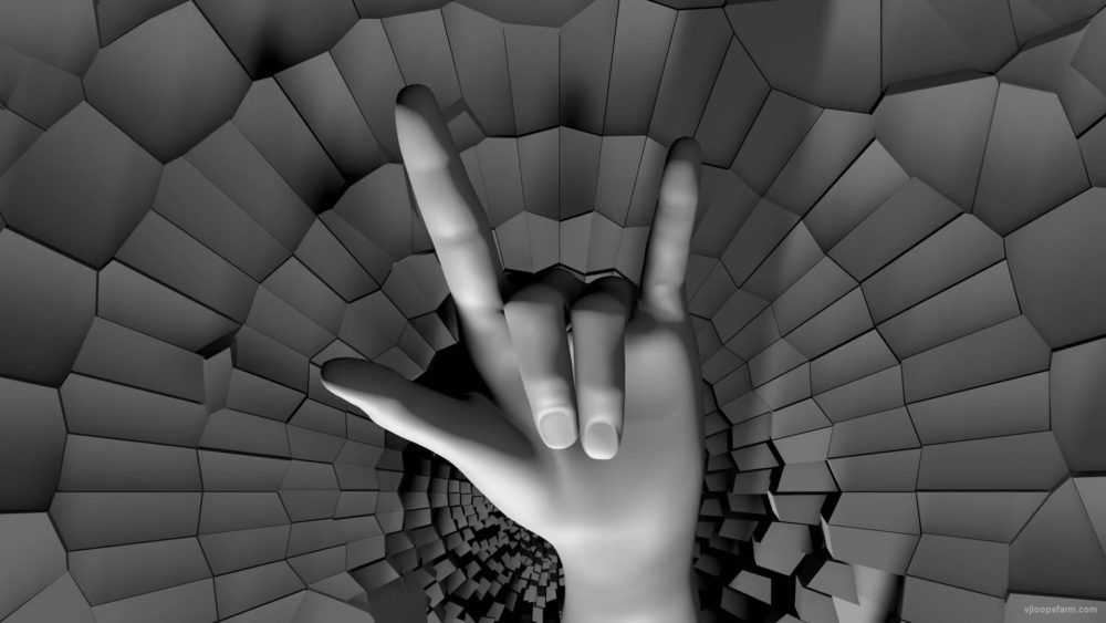 vj video background Rocking-3d-hand-with-hand-horns-sign-on-radial-fragmented-wall-mapping-loop-otvgy6-1920_003