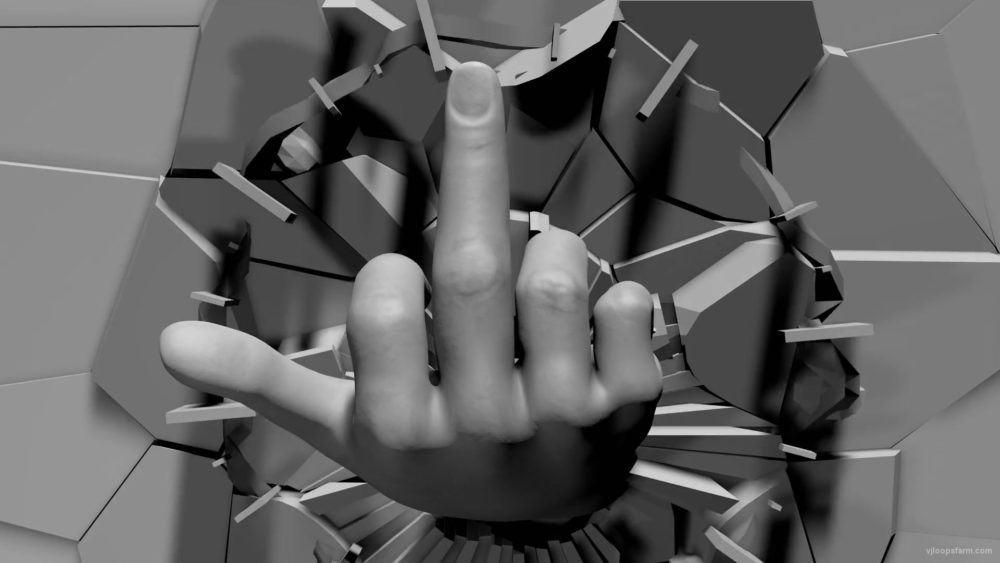 vj video background Rude-middle-finger-hand-sign-on-cracked-wall-beats-3D-mapping-loop-draauh-1920_003