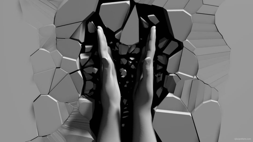 vj video background Slowly-clapping-3D-hands-on-creaked-texture-wall-projection-mapping-loop-doft4n-1920_003