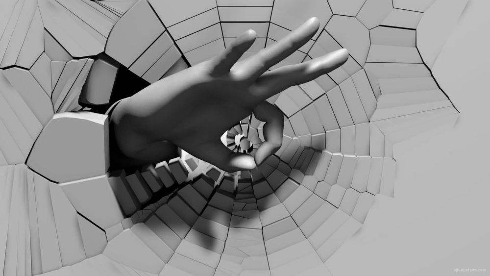 Spinning-OK-Hand-Sign-on-radial-cracked-wall-3D-mapping-loop-9acmts-1920_004 VJ Loops Farm